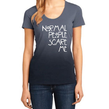 American Horror Story Clothing - Normal People Scare Me Ombre Scoop Neck Tee - Ladies