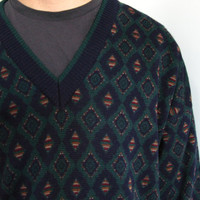 mens vneck sweater - 80s vintage i. magnin knit diamond geometric pattern jumper oversized pullover cosby hunter green navy blue one size