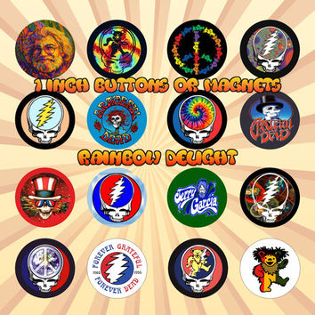 GRATEFUL DEAD Jerry Garcia 1 Inch Pinback Buttons or Magnets Set of 16