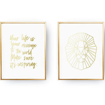 Set Of 2 Prints, Your Life Is Your Message To The World, Bedroom Poster, Real Gold Foil Print, Lion Poster, Typography Poster, Home Decor
