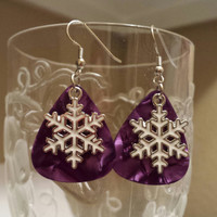 Guitar Pick Earrings - Betsy's Jewelry - Snowflakes - Christmas - Holiday - Winter - Festive Styles