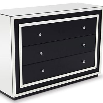 Malibu Contemporary Mirrored 3-drawer Dresser
