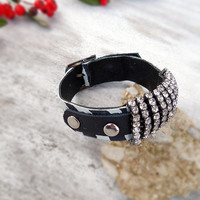 Black and white leather cuff, zebra leather bracelet, trendy bracelet, zebra leather wristband