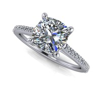 Cathedral Diamond Engagement Ring - Cushion Cut Engagement Ring - Moissanite Engagement
