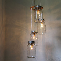 Fireflies  Spiral Cascading Mason Jar Chandelier Swag by BootsNGus