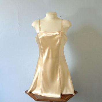 Vintage 90's Champagne silk slip dress camisole, Victoria's Secret size medium
