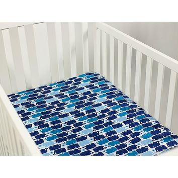 Happy Chic by Jonathan Adler Party Whale Crib Sheet One Size (Blue)