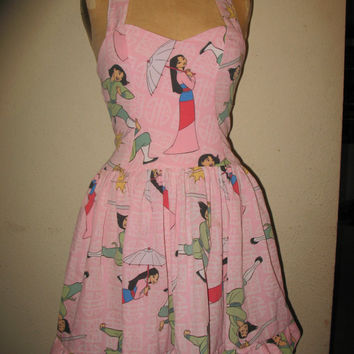 Custom Made to Order Mulan Warrior Princess Geekery Character Movie Pin up SweetHeart Ruffled Halter Mini Dress