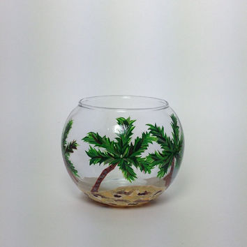 Glass Candle Holder with Hand Painted Palm Trees and Beach