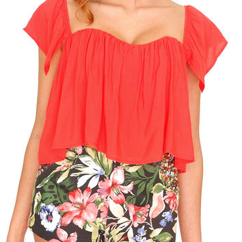 Santorini Off-Shoulder Crop Top - Red