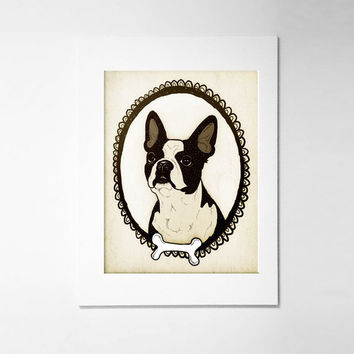 Boston Terrier Art Personalized Pet Portrait 5x7 digital art print, custom pet portrait, dog illustration, pet lover, dog lover,