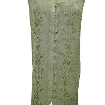Bohemian Dress Green Sleeveless Stonewashed Rayon Embroidered Dress Xl