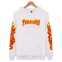 """""""Thrasher"""" Fashion women and man letters Hooded pullover Hedging long sleeve top sweater coat WHITE"""