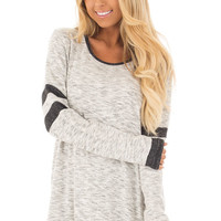 Heather Grey Two Tone Long Sleeve Top