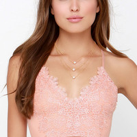 Can't Hurry Love Peach Lace Crop Top