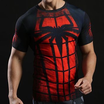 Spiderman T shirts Men Short Sleeve Fitness Tees Bodybuilding Tee Shirt Rash guard Crossfit Clothes Workout Tshirt Compression