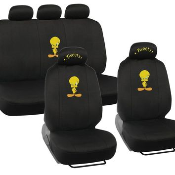 Licensed Official New 9pcs Set Looney Tunes Tweety Bird Logo Front Rear Back Car Full Seat Covers