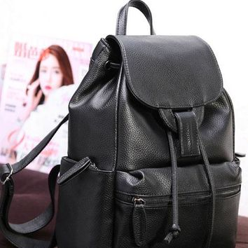 2017 New Women Trendy Preppy Style Pebbled Faux Leather Flap Drawstring Backpack
