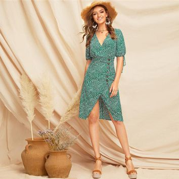 Boho Green Knot Cuff Split Hem Dalmatian Tea Dress Women Deep V Neck High Waist Bishop Sleeve Elegant Dresses