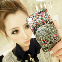 Gothic Retro Style Alloy Totem Skull with Mixed color rhinestone DIY Phone Case set Deco Den Kits