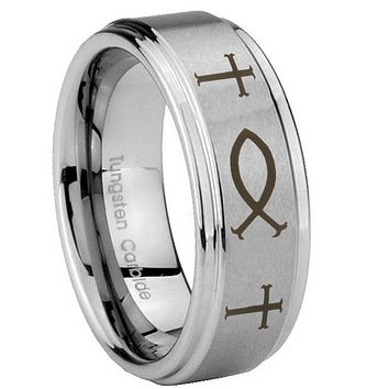 8MM Fish & Cross Step Edges Silver Tungsten Carbide Laser Engraved Ring