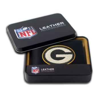 NFL Green Bay Packers Embroidered Genuine Leather Billfold Wallet