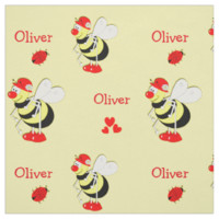 Cute Whimsy Busy Bees Bugs Hearts Personalized Fabric