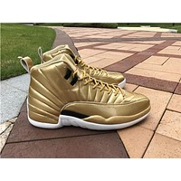 Air Jordan retro 12 XII Pinnacle Metallic Gold Basketball Shoes Men retro 12s Athletic Sport Sneakers boots size 41-47