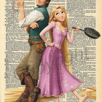 Tangled Rapunzel and Flynn Rider Dictionary Art Print