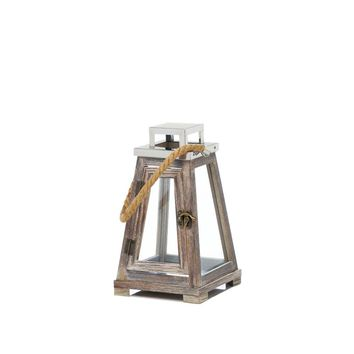 Metal Small Pyramid Wooden Candle Holder Lantern With Rope