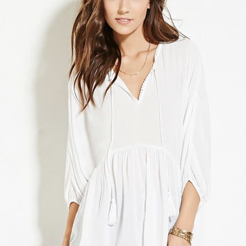 Tasseled Peasant Top - New Arrivals - 2000182893 - Forever 21 EU English