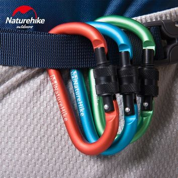 Naturehike Carabiner With Screw Lock Spring Keychain Hook Mosqueton For Outdoor Camping Hiking EDC Survival Tools 4pcs