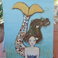 Mermaid Decor, Original Beach Wall Art. Brown Hair, Blue Eyes, Mixed Media on Canvas 16X20 inches
