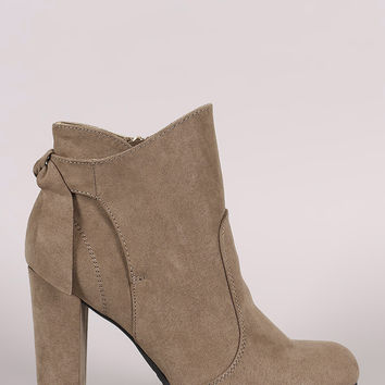 Bamboo Suede Knotted-Tie Chunky Heeled Booties
