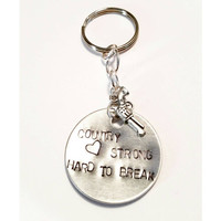 Country Strong keychain music song lyrics movie quotes hard to break handstamped car accessories