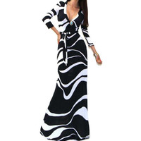 Black And White Sleeve V-Neck Maxi Dress