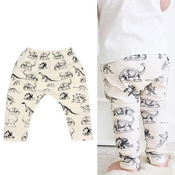 High Quality Baby Pants Toddler Kids Dinosaur Print Harem Pants Soft Cotton Casual Pants