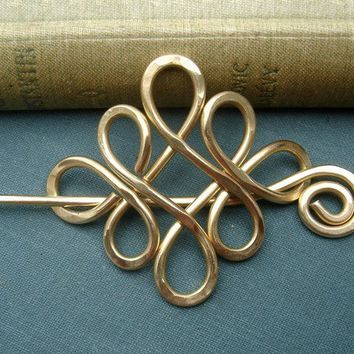 Celtic Shawl Pin / Brooch / Hair Pin Brass by nicholasandfelice
