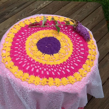 Round tablecloth, doily tablecloth, cotton table cloth, colorful tablecloth, crochet tablecloth, unique, multicolor, small table cover,