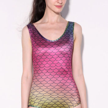 Ombre Checkered Tank Polyester Swimsuit