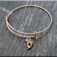 Gold Koi Fish Charm Expandable Bangle Bracelet, Adjustable Bangle, Stacking Charm Bracelet, Fish Charm Bangle, Stacking Bangle Bracelet