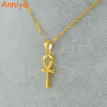 Anniyo Egyptian Ankh Cross Pendant Necklace Chain Woman,Gold Color Charms Jewelry Girls Egypt Hieroglyphs,Crux Ansata #057006