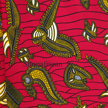 African fabric/ Red African fabric/ fabric by the yards/ Ankara fabric/ African wax Print fabric/ african material /cotton Fabric