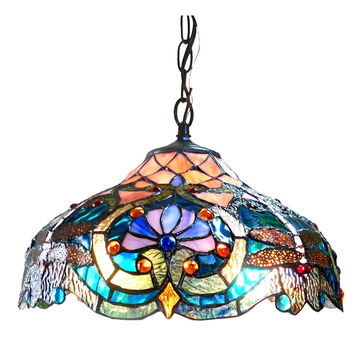 "LYDIATiffany-style 2 Light Victorian Ceiling Pendant Fixture 17"" Shade"