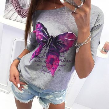ISHOWTIENDA Fashion Women's Hoodies Sweatshirts Long-Sleeved Shirt Blouse Printed Color Butterfly Round Neck ropa mujer
