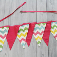 7 pennant Banner. Flag Bunting. Multi Chevron and Pink. Baby Room Decor, Birthday, Baby Shower, Wedding. Photo Prop. Easter
