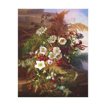 18th century old oil painting of flowers canvas print