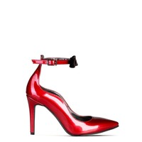 Made In Italia Red Leather Ankle Strap Pumps