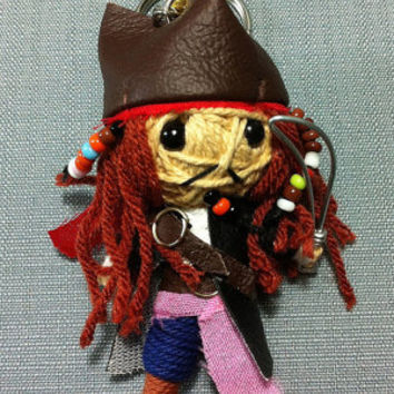 Jack Sparrow Pirate of the caribbean Voodoo String Doll Funny Keyring Keychain Key Ring Key Chain Bag Car