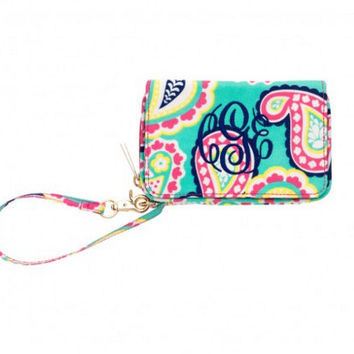 Monogram Wristlet MonogramID Wallet Paisley Monogram Cell Phone Holder Embroidered Wallet Embroidered Phone Holder Monogram Sorority Gift